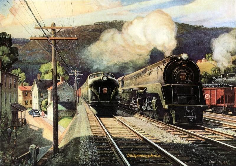 1947. Рабочие партнеры. Дизель и паровозы в Мэрисвилле, Пенсильвания.