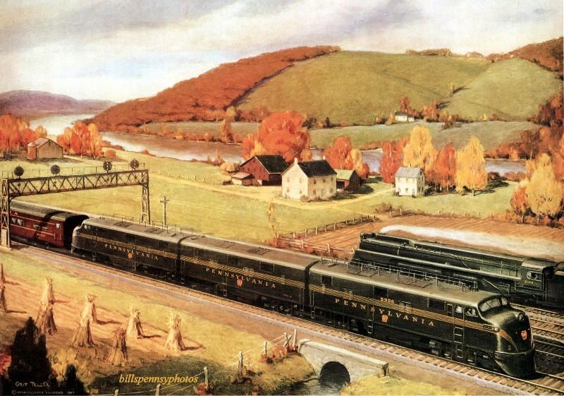 1948. Ппрогрессивная энергетика. Дизельные и паровые поезда, проходящие по акведуку, Пенсильвания.