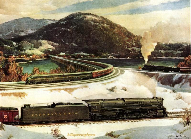 1950. Перекресток коммерции - три поезда, Уэст-Энд Роквилл Бридж, недалеко от Харрисбурга, Пенсильвания.