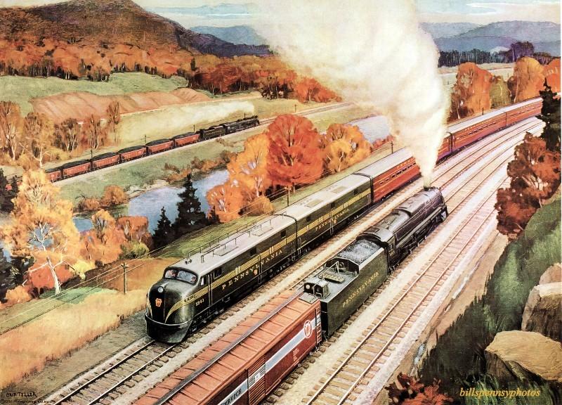 1951. Основные торговые линии три поезда в Нью-Флоренс, Пенсильвания.