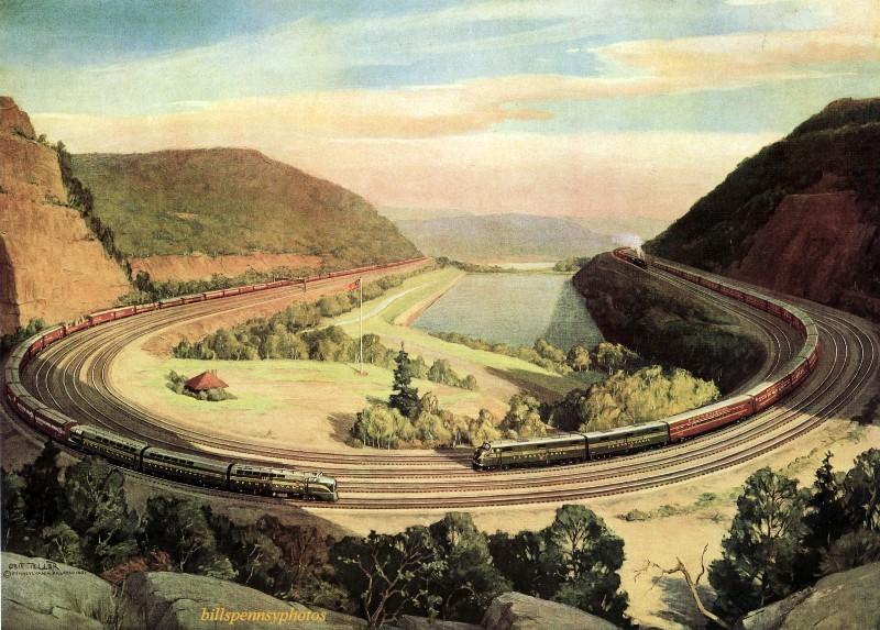 1952. Кривая подкова.  Три поезда на Кривой подкове, недалеко от Алтуны, Пенсильвания.