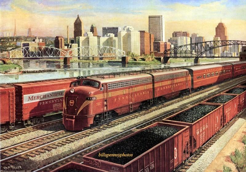 1954. Поезд Питтсбург - прогресс проезжает мимо золотого треугольника, Питтсбург.