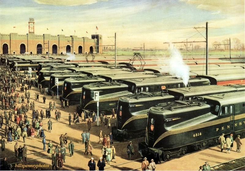 1955 Поезда масс-транспорт выстроились в линию на армейско-военно-морской игре, Муниципальный стадион, Южная Филадельфия.