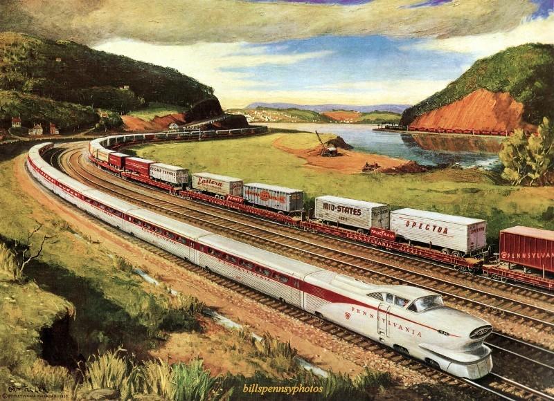 1956. Динамический прогресс Aerotrain и piggyback TrucTrain, Пенсильвания.
