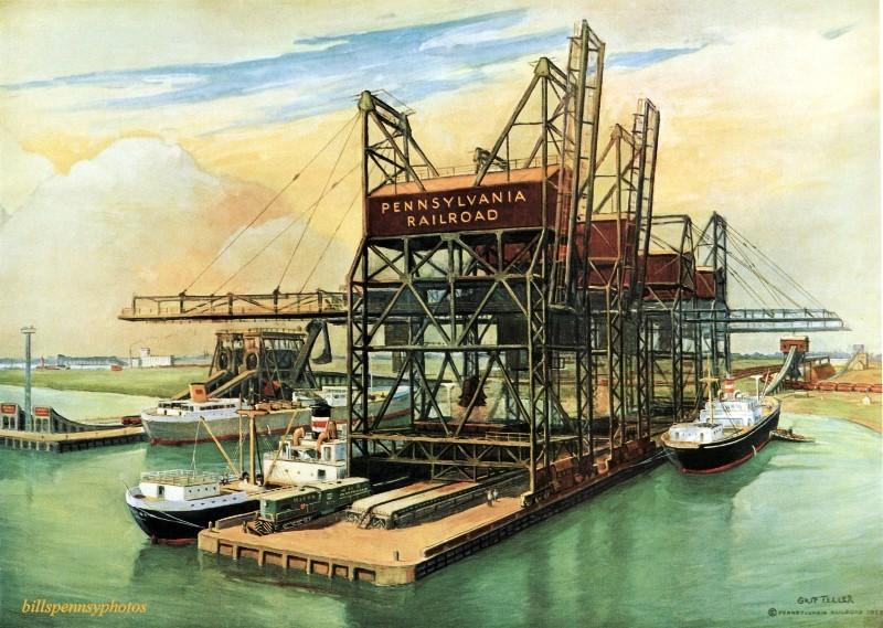 1957. Жизненно важные связи с мировой торговлей. Рудный док и разгрузочные сооружения на пирсе 122, Южная Филадельфия.