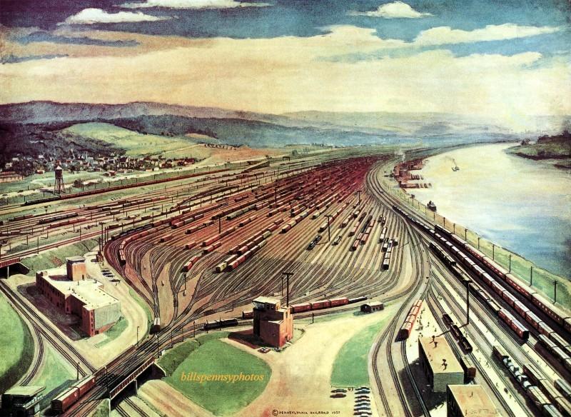 1958. Конвей Ярд с высоты птичьего полета, Конвей Ярд, недалеко от Питтсбурга.