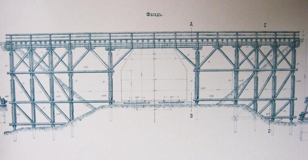 33. Временный деревянный мост через Нижегородскую ж.д. для пропуска вагонеток на период строительства.