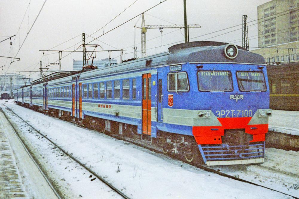 120. ЭР2Т-7100, ст.Москва-Бутырская, февраль 1988 год.