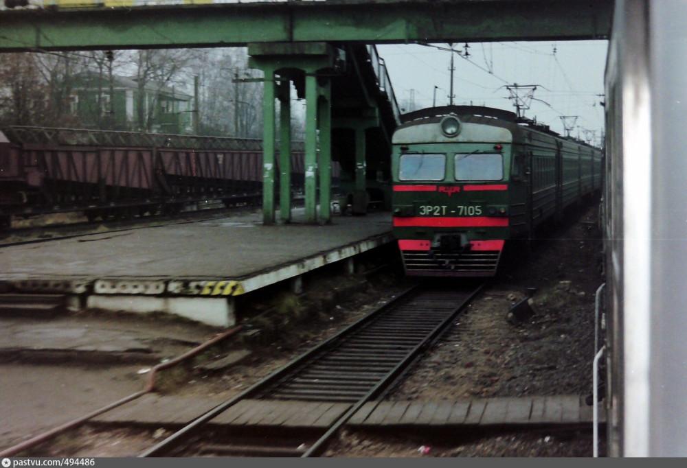 100. Ж.д.станция Можайск, ЭР2Т-7105. Ноябрь 1996 год.