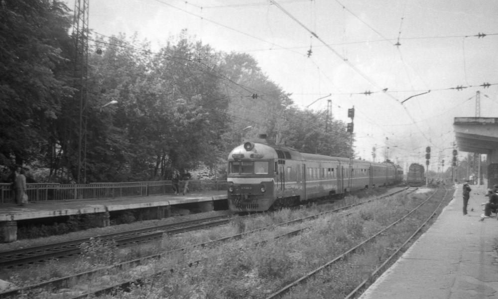 53. Дизель-поезд Д1 Москва-Новомосковск, ст.Кашира-Пасс., август 1993 год.