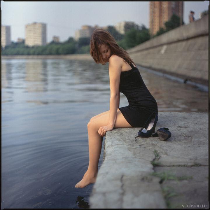 6x6 fuji provia 100f средний формат, Москва набережная река причал Аня девушка