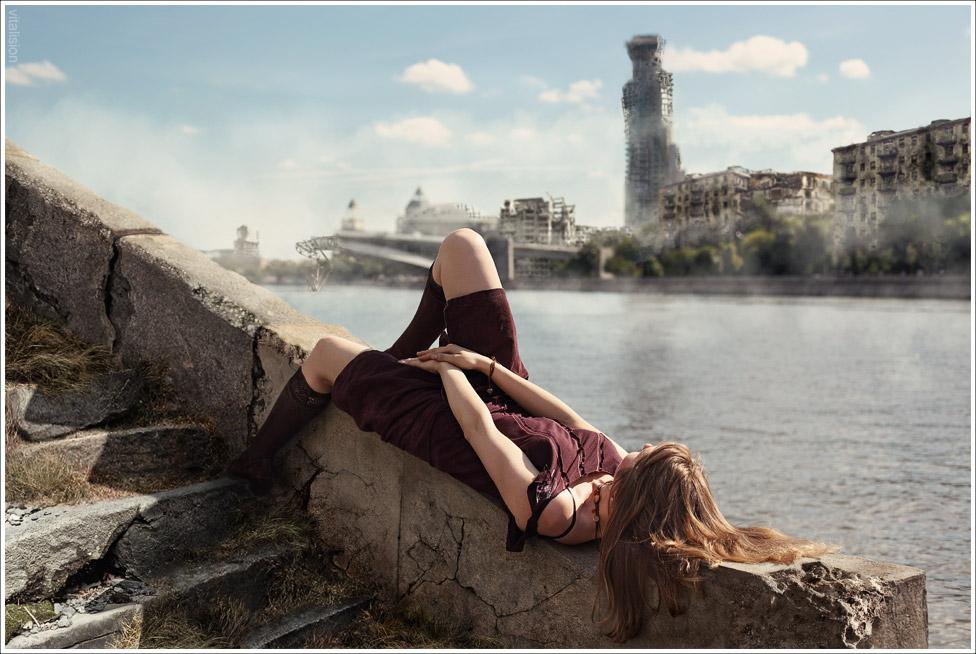 Москва, апокалипсис 2012, набережная, река, девушка