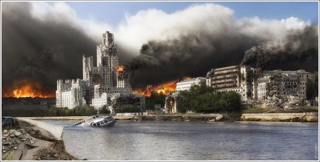Москва, апокалипсис, matte paint, коллаж, vitalision