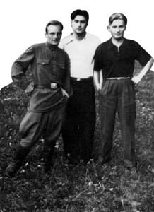 Учасники підпілля (зліва направо) О.С. Зубко, В.В. Горак, В.Ю. Терехов (фото 50-х років)