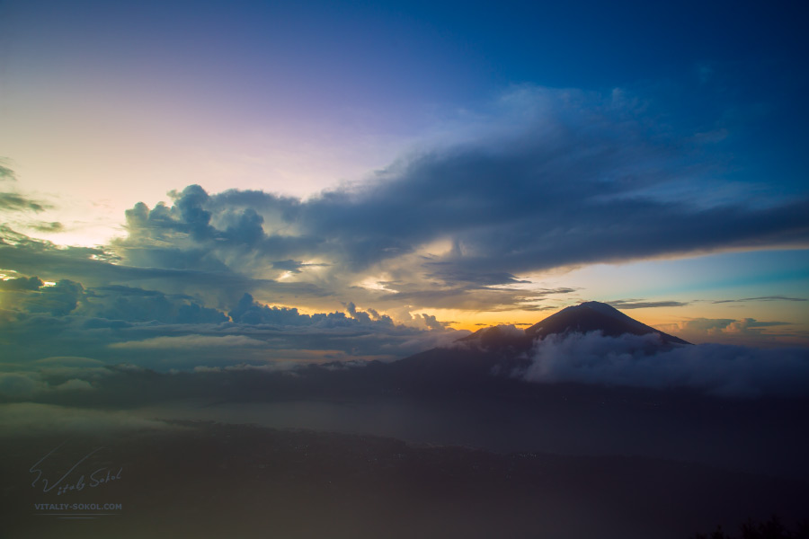 View from Batur volcano to Agung volcano