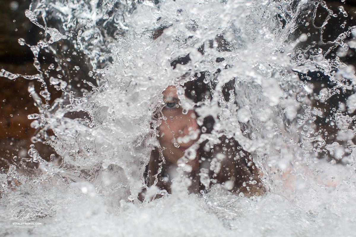 Купание в горячих источниках на Азорских островах. Фото в воде
