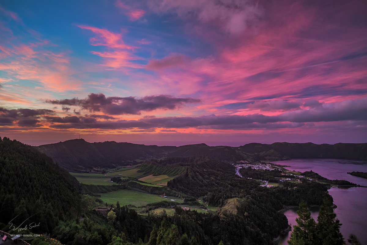 Sete Cidades after beautiful sunset