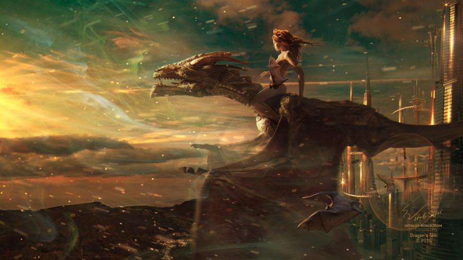 Девушка верхом на драконе. Фэнтези арт от Виталия Сокола