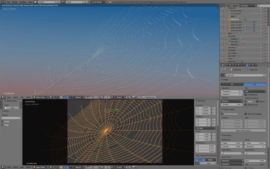 Blender 2.78 morning dew on spiderweb