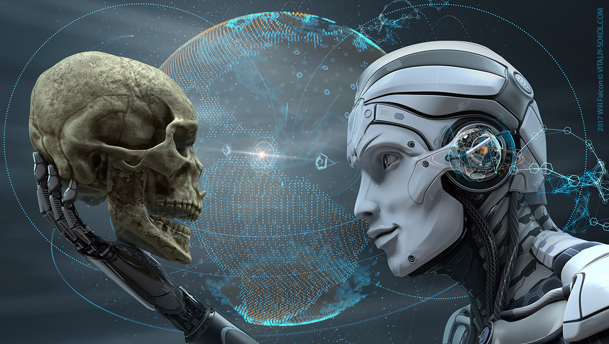 Robot holding human skull