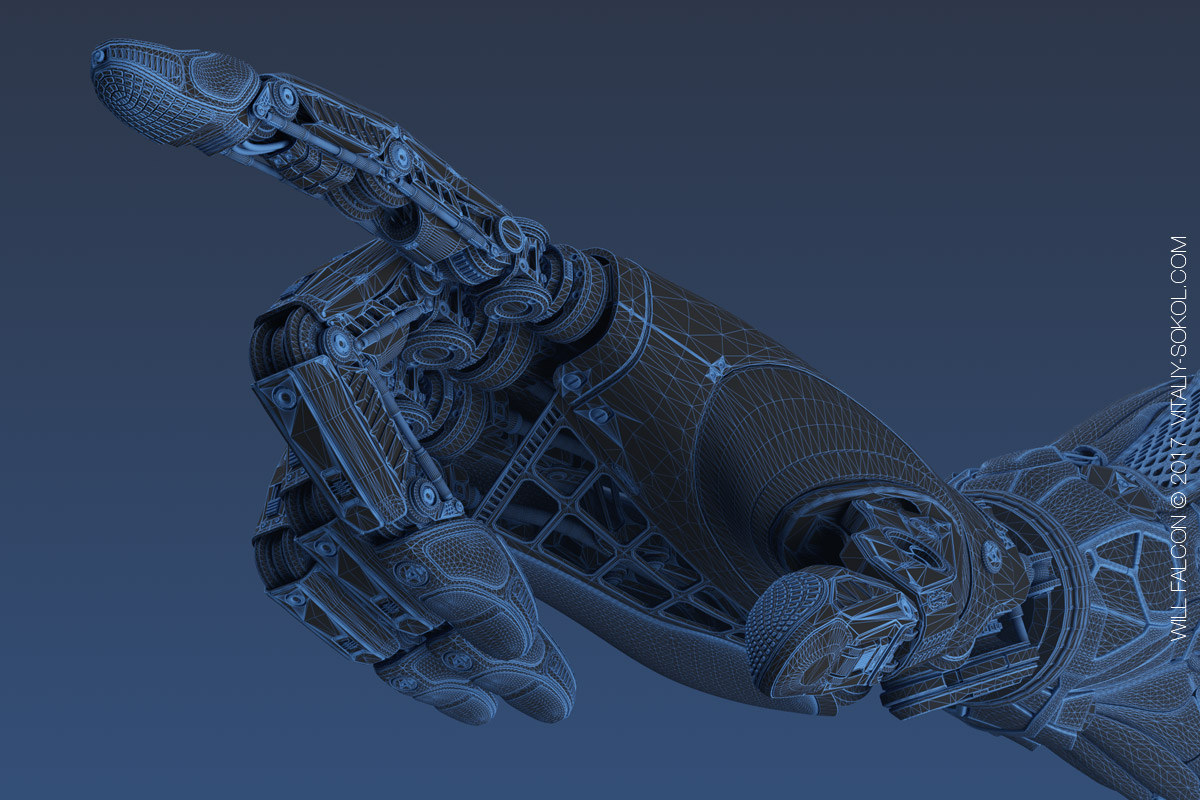 модель руки робота в блэндере. Сетка