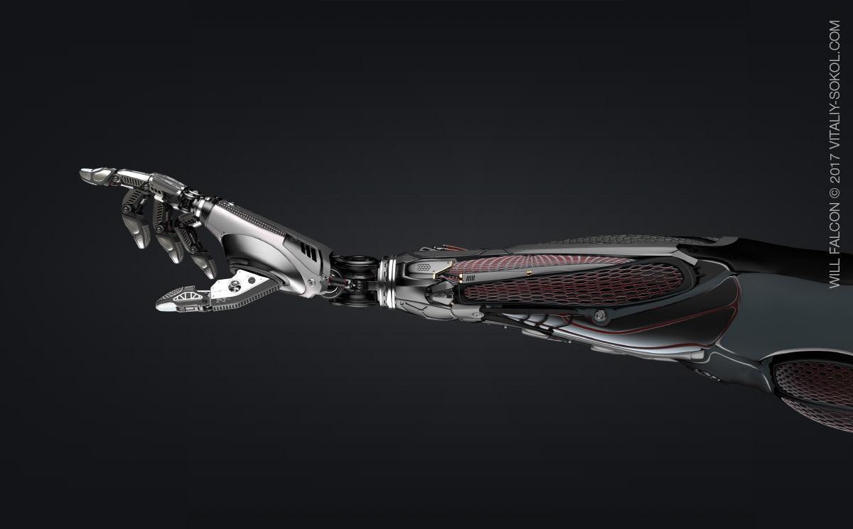 модель руки робота в блэндере
