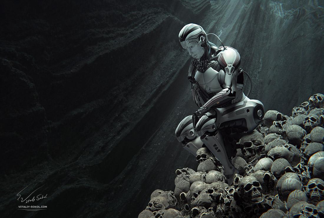робот восседает на горе из человеческих черепов