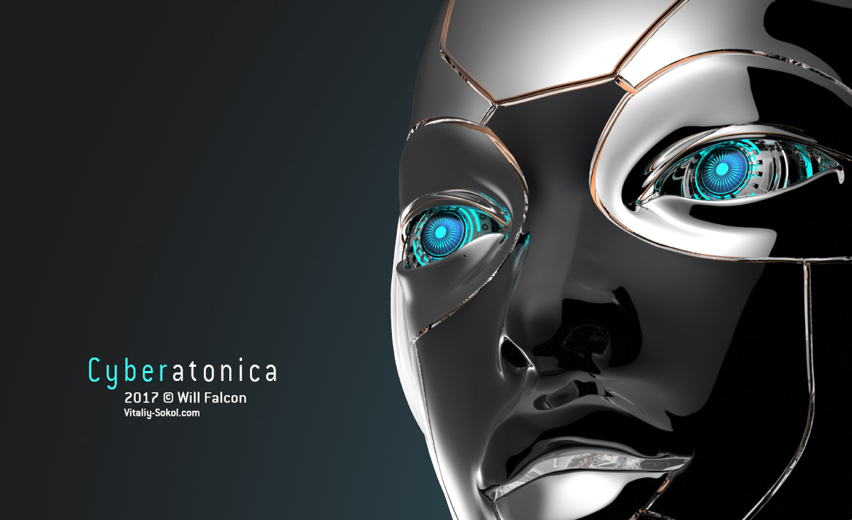Female Robot face with cybernetic eyes