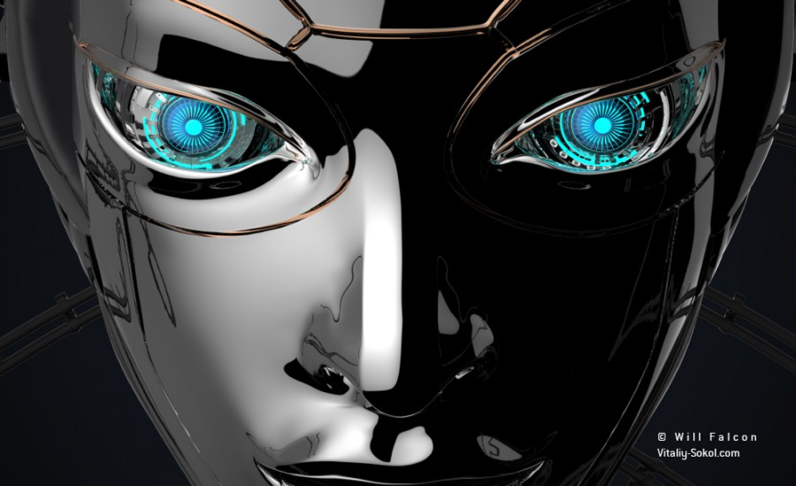 Female bot face on dark digital background. Artificial intelligence in virtual reality. Robot head conceptual design closeup portrait