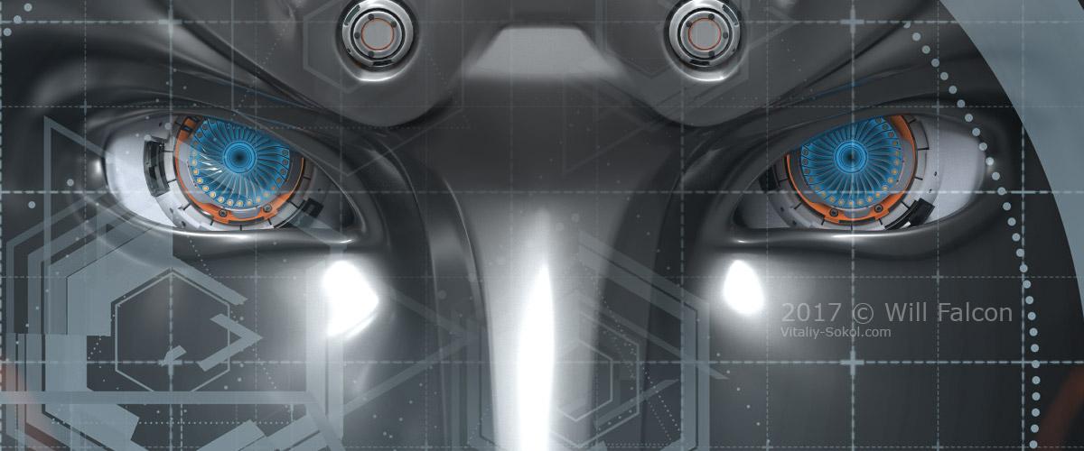 Глаза робота крупным планом