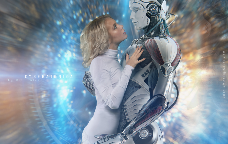 Cyborg and Blonde girl, by Will Falcon aka Vitaliy Sokol