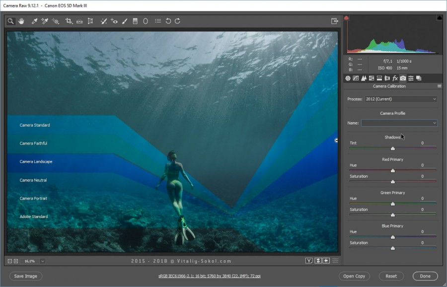 Влияние цветового профиля на подводную фотографию