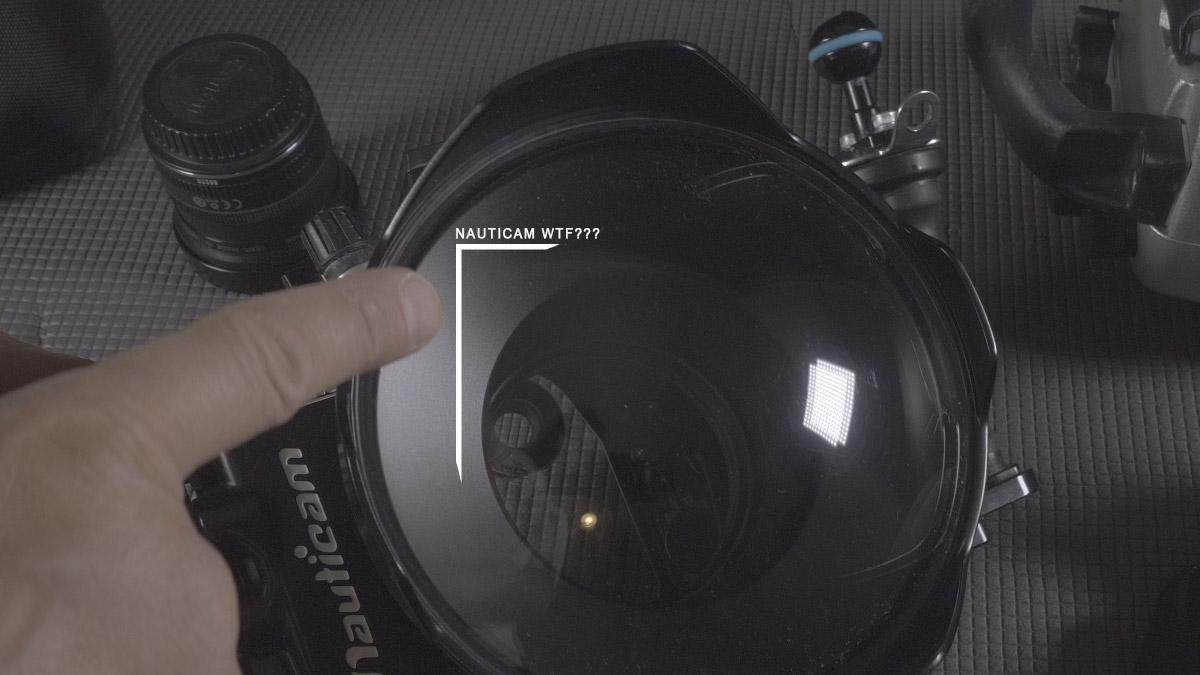 """Nauticam housing for panasonic GH5 with dome port 6"""", bad glossy surface, very bad surface"""
