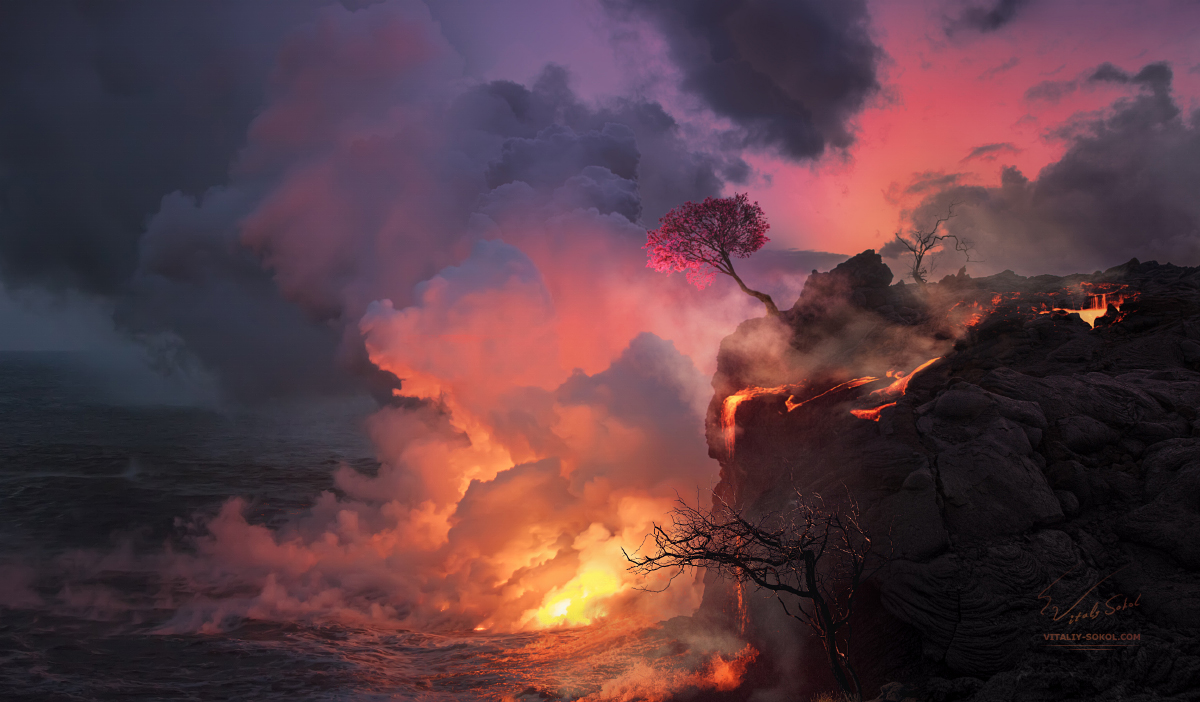 Lava Fire flowing into the ocean water, Hawaii, Bigisland, Volcano erruption