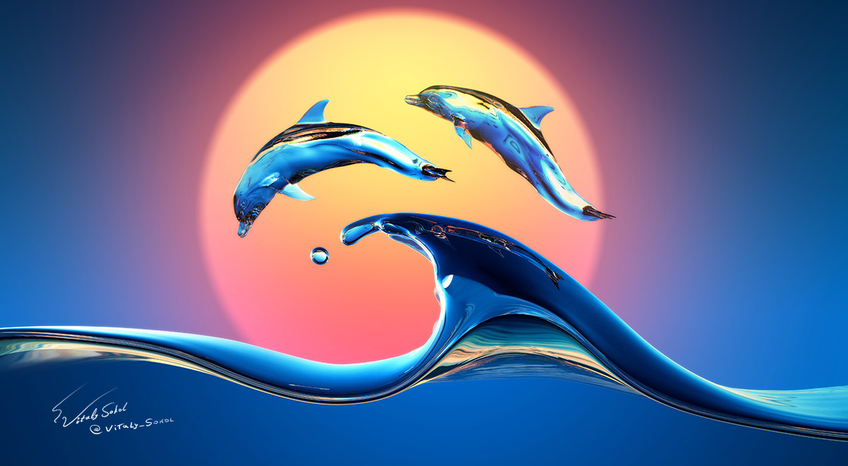 Beautiful colorful sea wave design with jumping dolphins