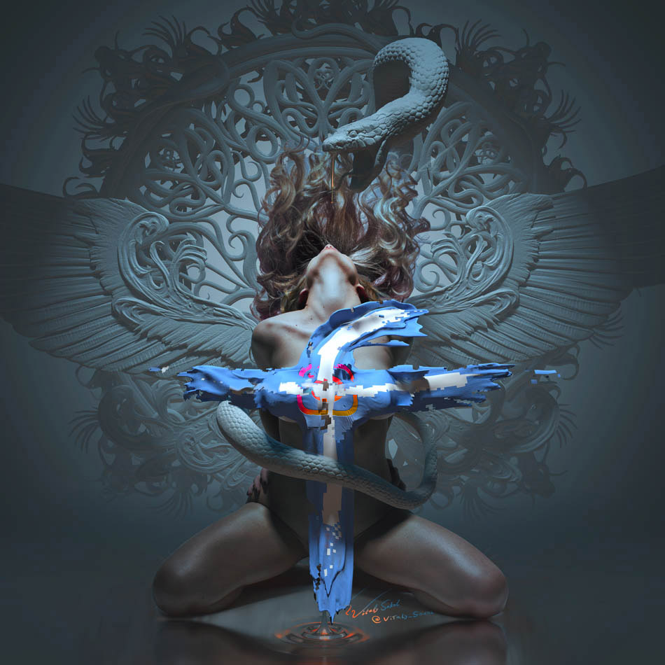 Erotic Fantasy art by Will Falcon vitaliy-sokol.com, dragons, snake, Eve, ghotic