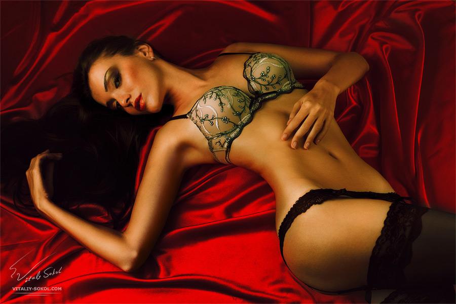 Красивая стройная модель в сексуальном белье . Постобработка.