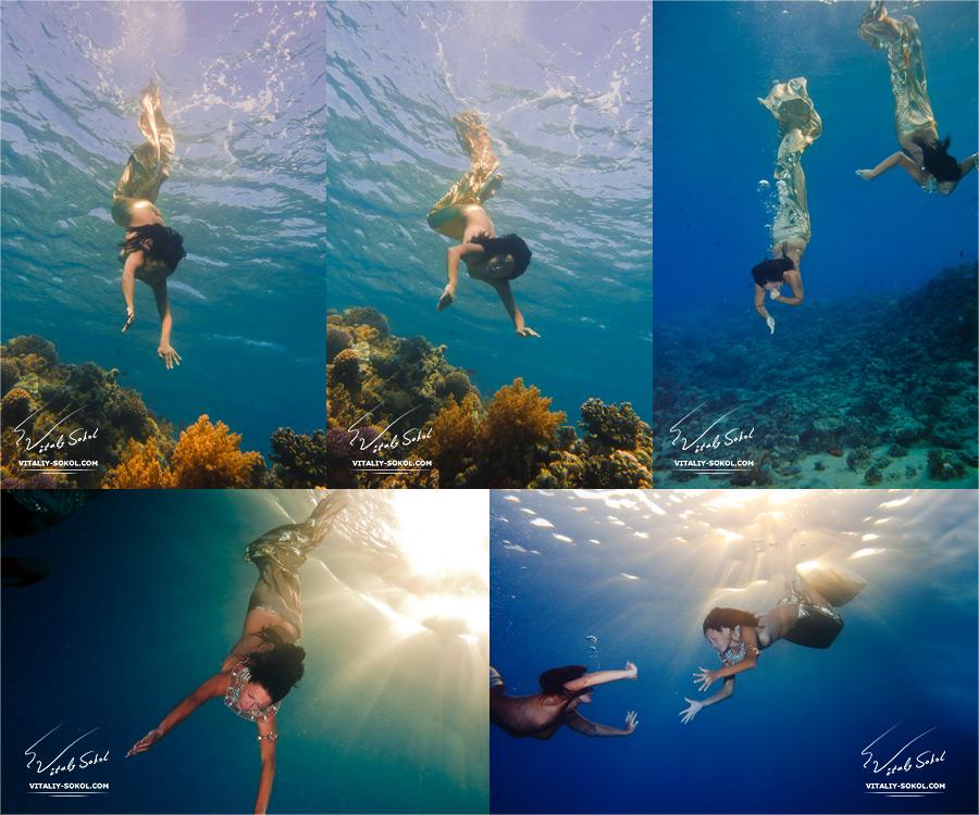 Подводная фотосъемка. Русалки и обнаженные девушки. Кадры со съемки.