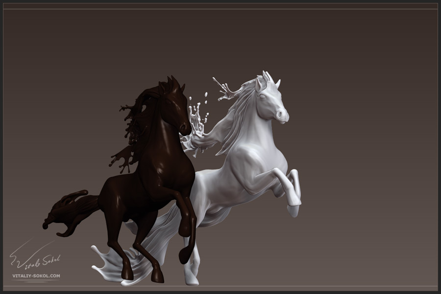 Zbrush sculpting. Chocolate and Milky Horses.