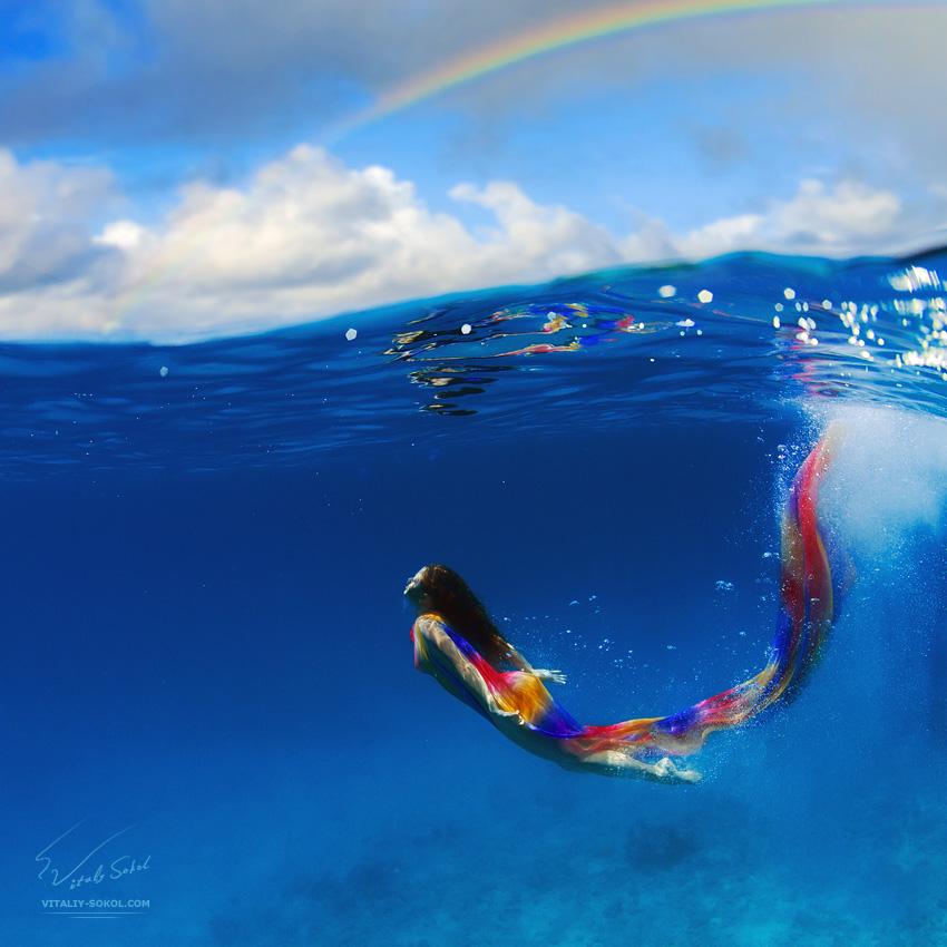 Подводная фотография. Съемка моделей. Девушка под водой.  Underwater Nude
