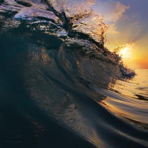 Big beautiful ocean surfing wave closing
