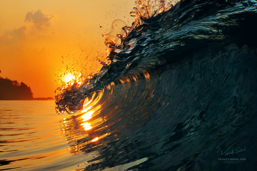 beautiful surfing wave at sunset time with the sun