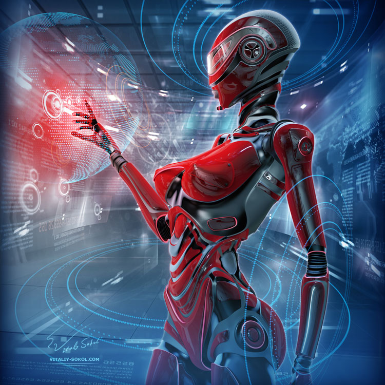 Futuristic female android managing virtual interface in digital space