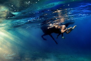 Beautiful model swimming underwater with horse and sunrays falling through water surface. Photographs by Vitaliy Sokol