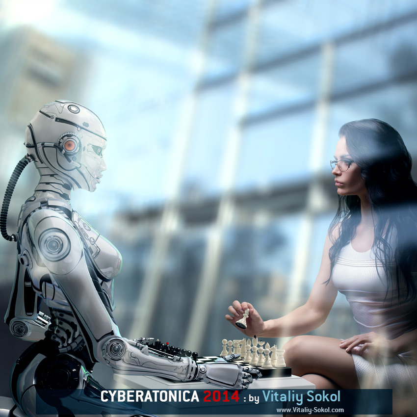 Stock photo: Fembot Robot Playing Chess with Woman. Side view behind glass