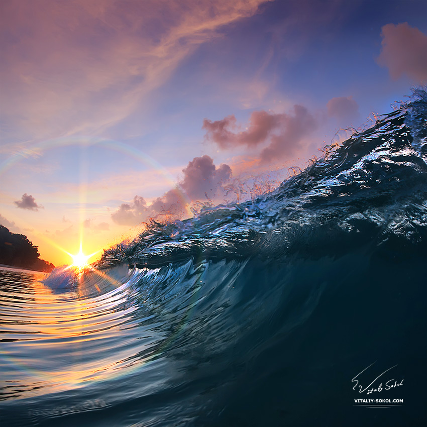 Stock photo: Beautiful sunset and breaking glossy ocean wave