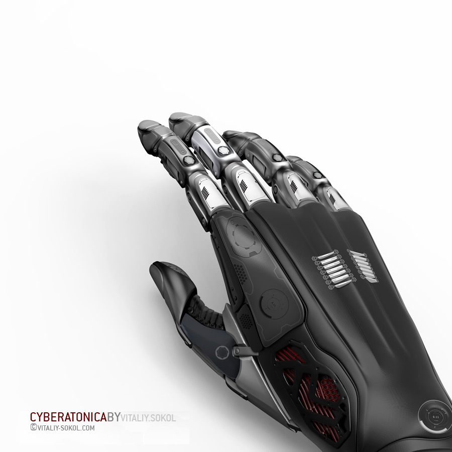 Robot piece of hand glove on white background. Black Metal Plastic Design concept and artificial life. Cyborg android futuristic science.