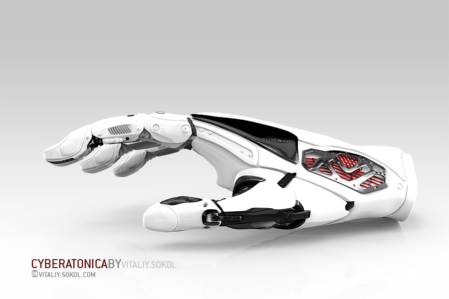 Robot piece of hand glove on white background. White Matal Plastic Design concept and artificial life. Cyborg android futuristic science.