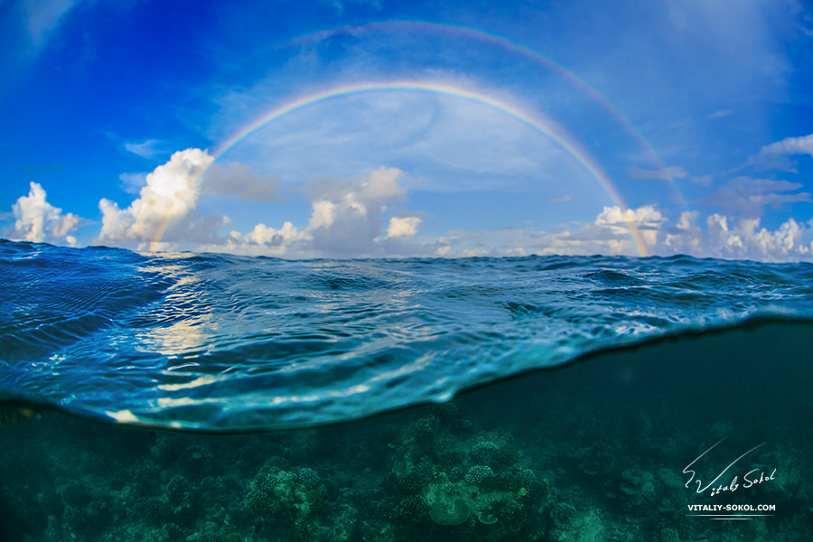 Beautiful Rainbow over ocean surface
