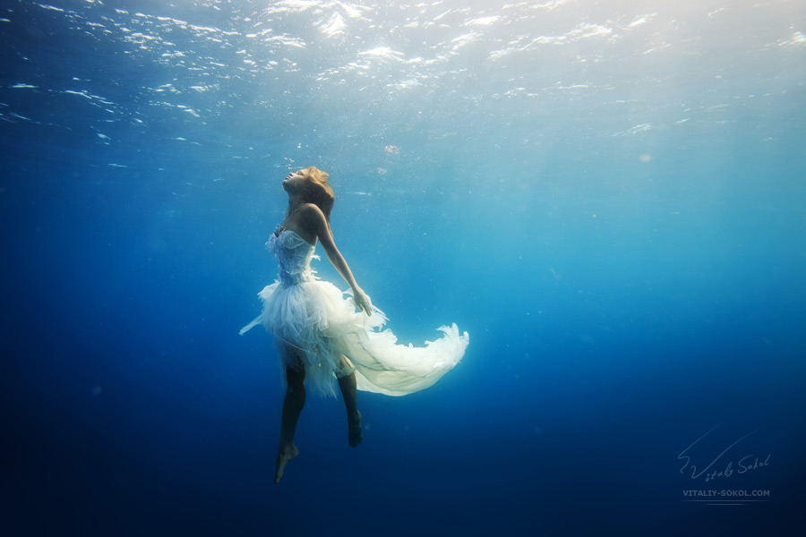 Beautiful model in white dress underwater. A girl diving with dolphins without scuba gear. Fantasy mermaid in deep ocean. Water surface with sunbeams
